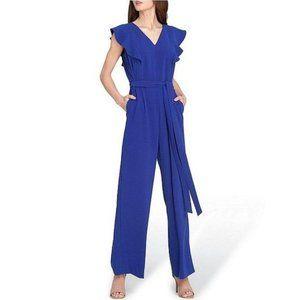 NWT Tahari Blue Flutter Sleeve Tie Waist Jumpsuit